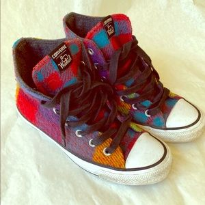 Converse Woolrich plaid wool hightops 6.5